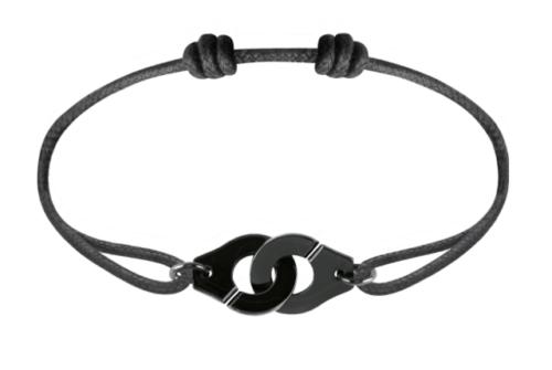 Bracelet sur cordon Menottes R12 argent plaqué noir