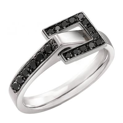 Bague Diamant Noir motif Carré