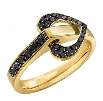 Bague Diamant Noir motif Coeur