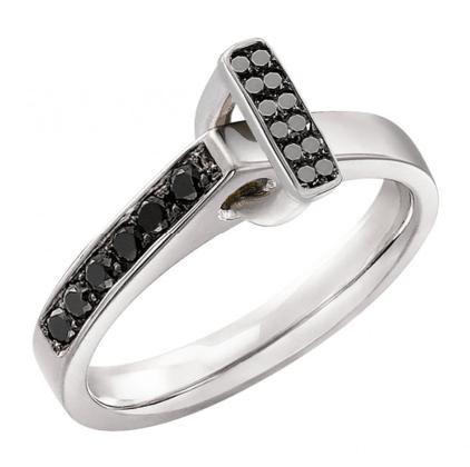 Bague Diamant Noir motif Etrier