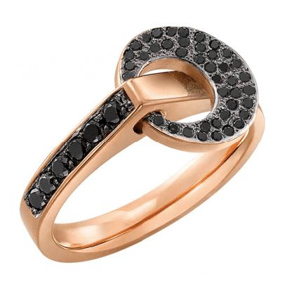 Bague Diamant Noir motif Rond